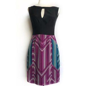 Trina Turk Chevron Coda Silk Dress Size 0 EUC